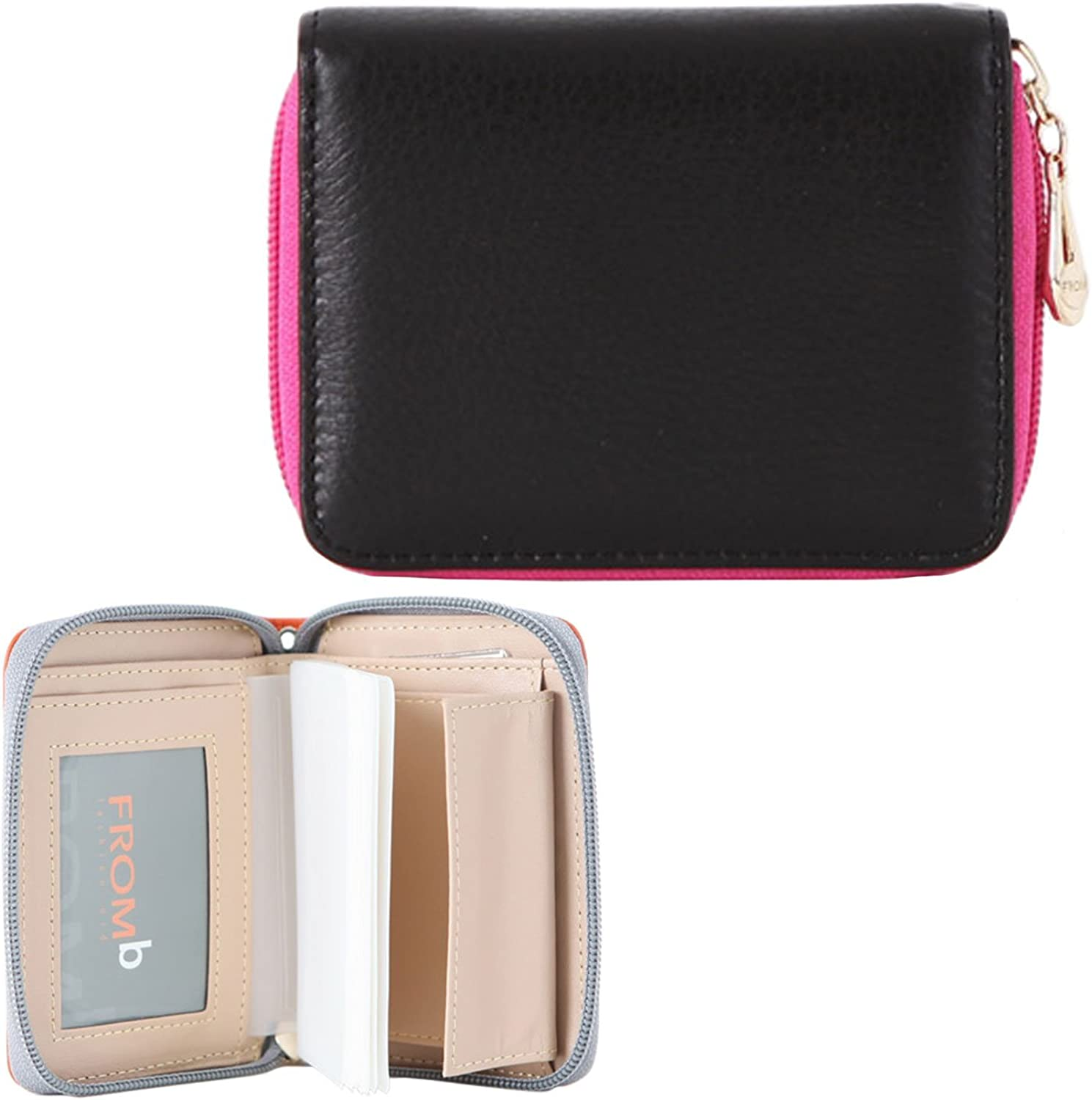 Womens Zip Around Genuine Leather Credit Card Case Organizer Compact Wallet Purse