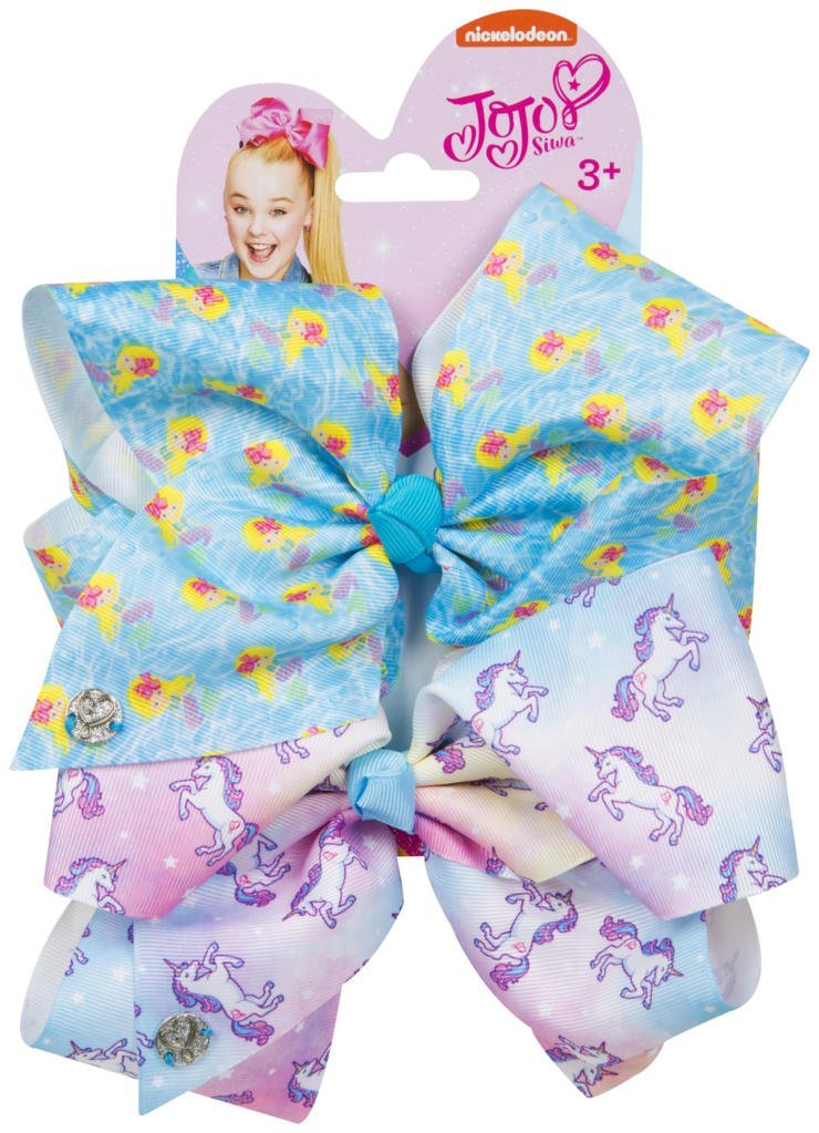 Official JoJo Siwa Mermaids & Unicorns 2 Pack Hair Clip Bow Set with Charms - worldofhoisery JJS-078