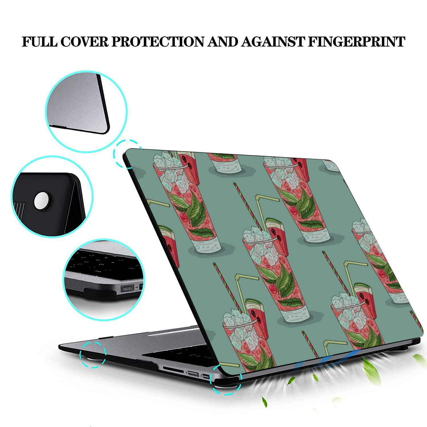 MacBook 2018 Case Summer Sweet Cool Watermelon Juice Plastic Hard Shell Compatible Mac Air 11 Pro 13 15 MacBook Pro Cover Protection for MacBook 2016-2019 Version