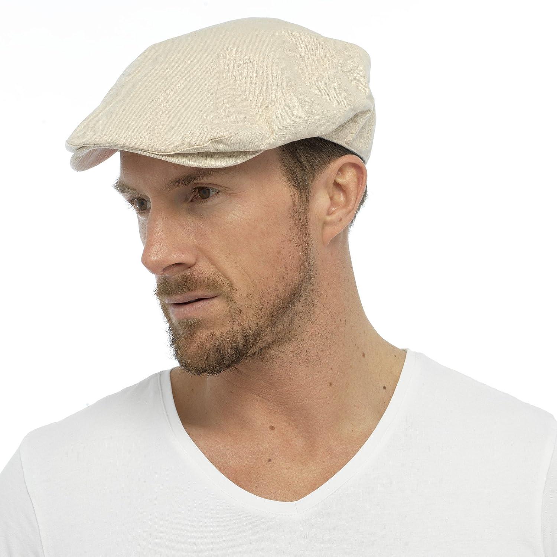 c0d82e59 Mens Cotton Linen Fabric Flat Cap Hat Lined Summer Sun Peak Navy Stone M/L  L/XL