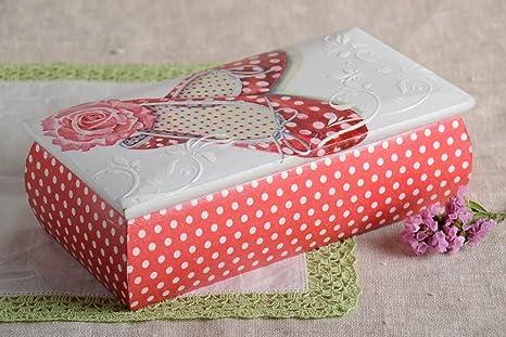Caja hecha a mano de madera de decoupage joyero original regalo para mujer