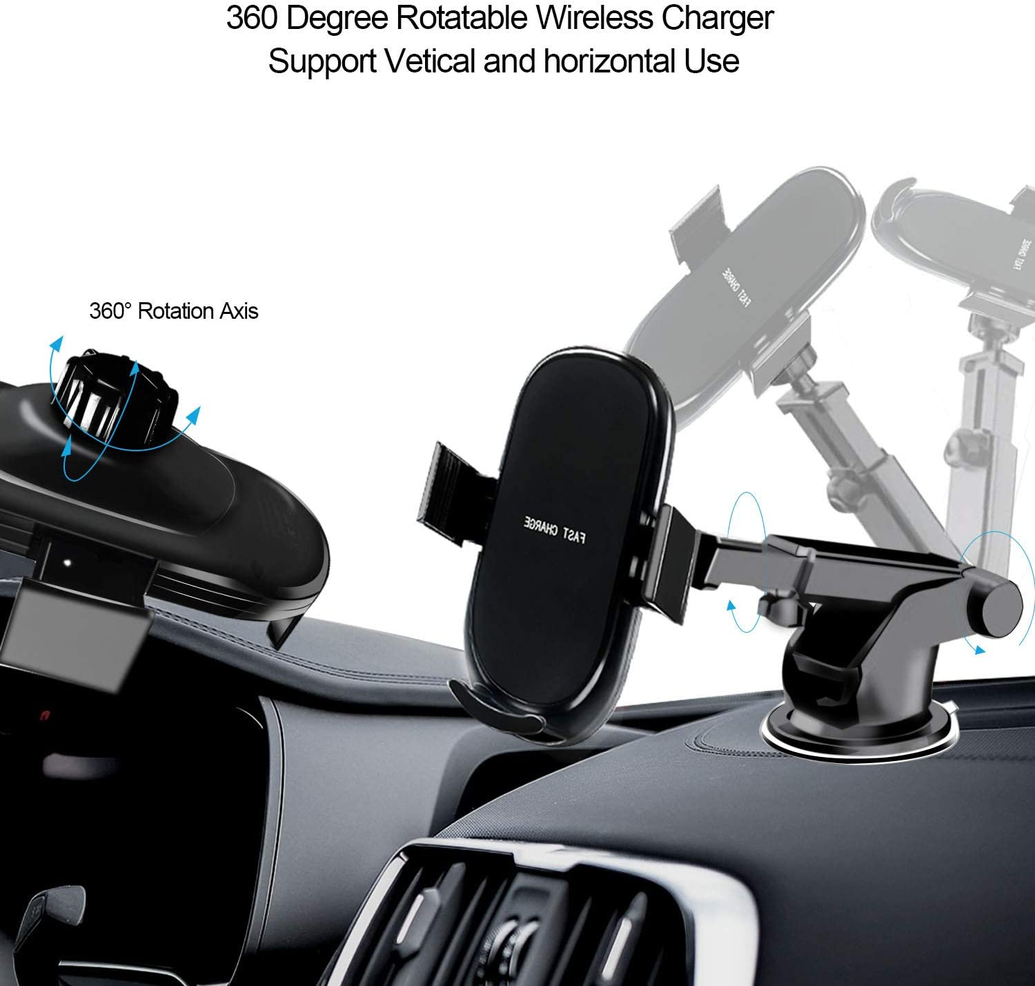 Car Wireless Charger Mount with USB Car Charger Adapter Qi Fast Charging Car Phone Holder Compatible with iPhone Xs Xs Max XR X 8 8 Plus Samsung Galaxy S10 S10 S9 S9 by Amerzam