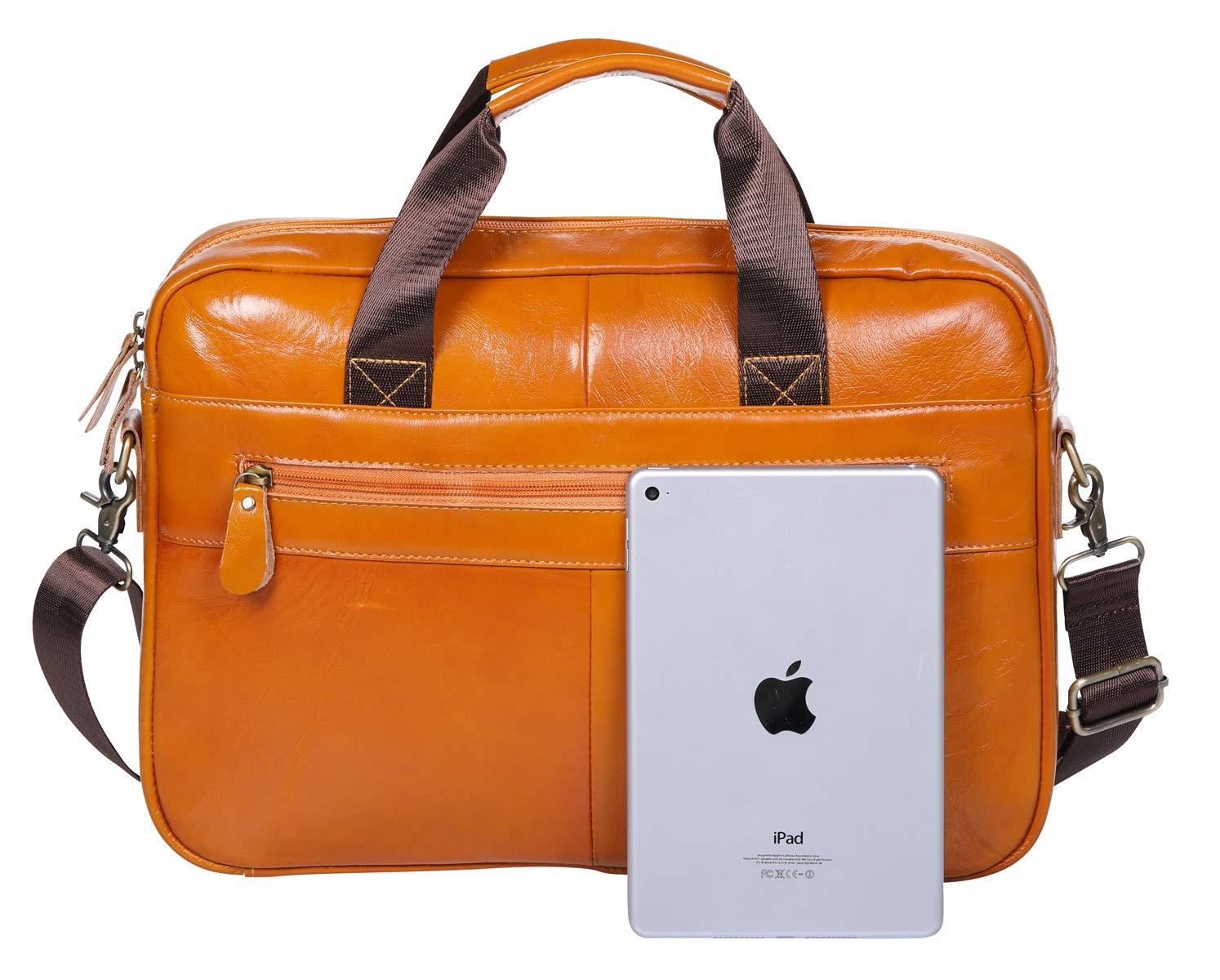 BOLO Valigetta di Pelle Borsa per Laptop da 14 Pollici,Vera Pelle attività Commerciale Borsa a Tracolla per Uomo e Donna (Giallo LCP)