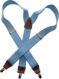 product image for Holdup brand USA made Light Blue Denim Y-back Suspenders with Silver-tone No-slip Clips