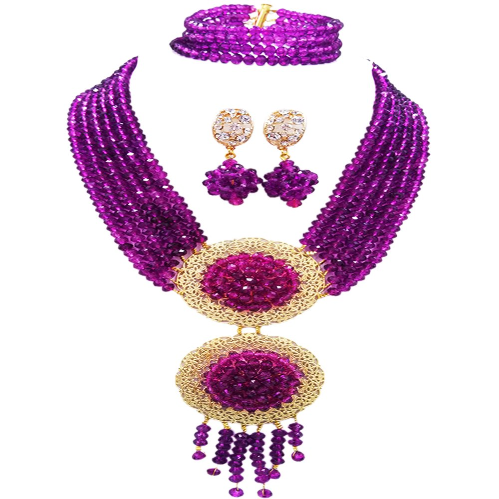 acuzv 6 Rows African Necklaces for Women Nigerian Beads Jewelry Set Wedding Bridal Party Jewelry Sets (Purple)