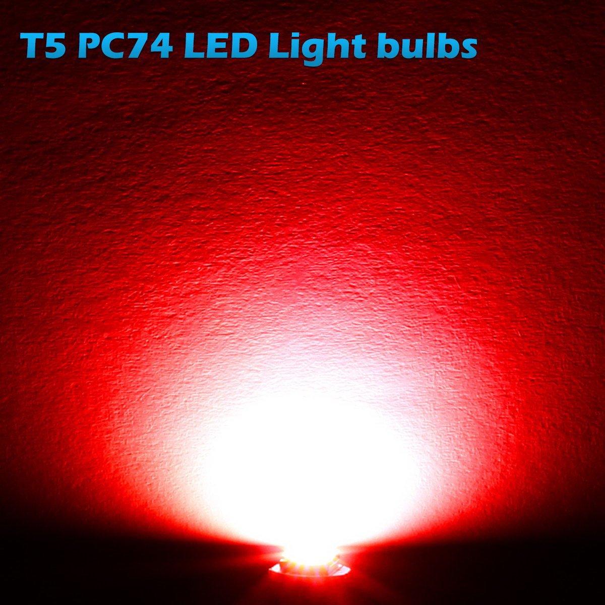 Partsam 10x Red T5 1 SMD 5050 Dashboard Wedge Car LED Light Bulb Lamp 37 73 74 79 for 1993-1997 Honda Civic del Sol