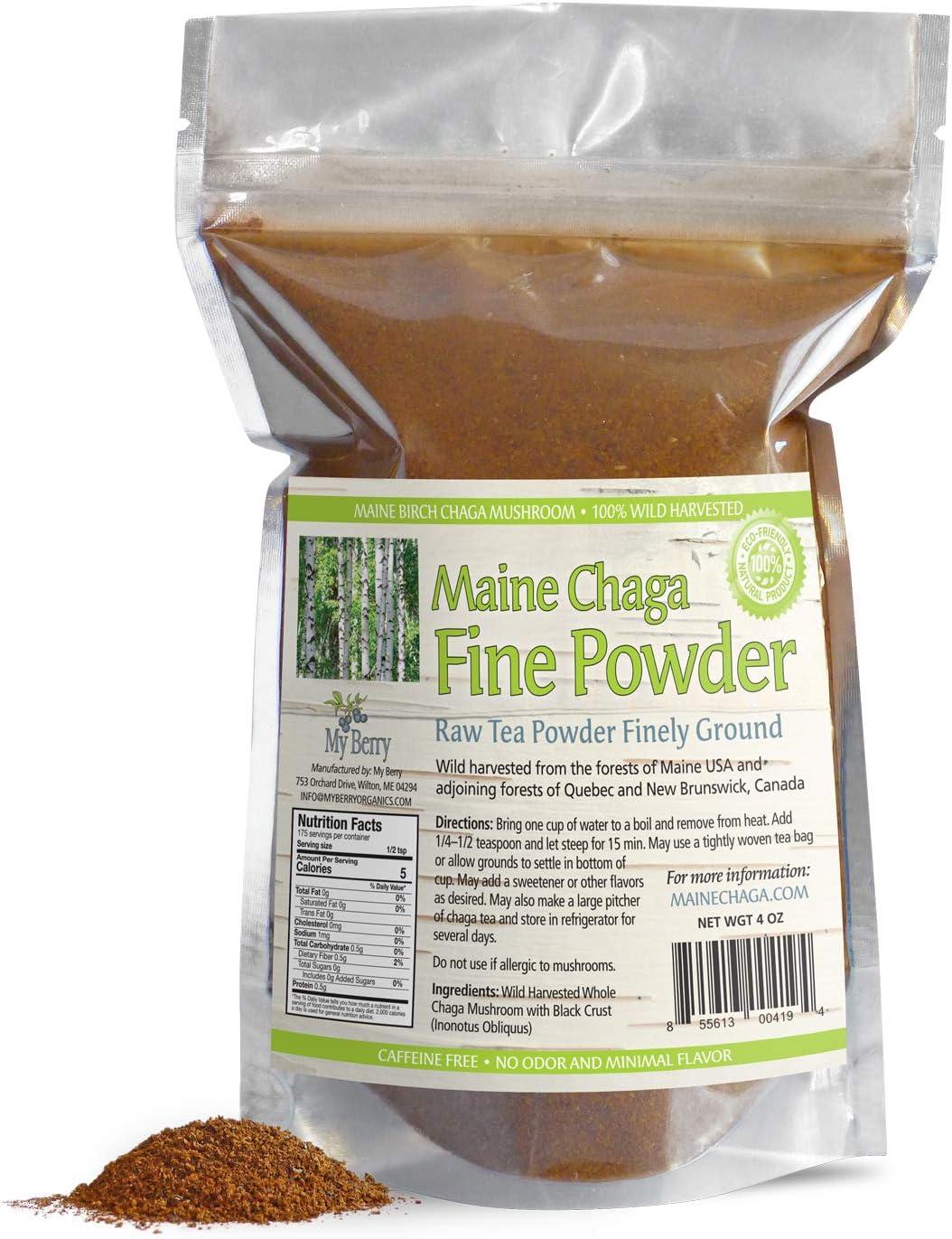 Maine Chaga té en polvo de hongos fino, sin pesticidas, silvestres cosechados, no procedentes de Rusia, 4 onzas, no es un extracto sino un chaga crudo entero, propiedad de mujeres, pequeñas empresas