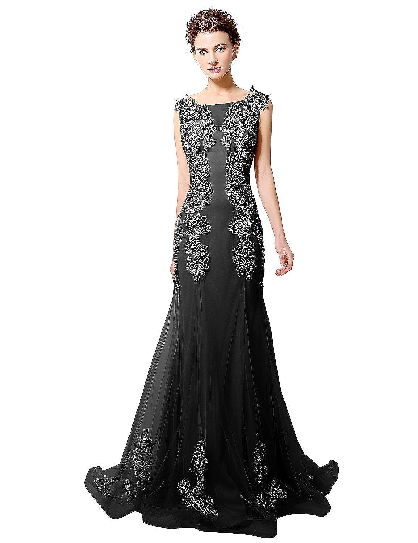 Favebridal Women's Long Column Appliques Evening Dress Sleeveless Party Gown LX036