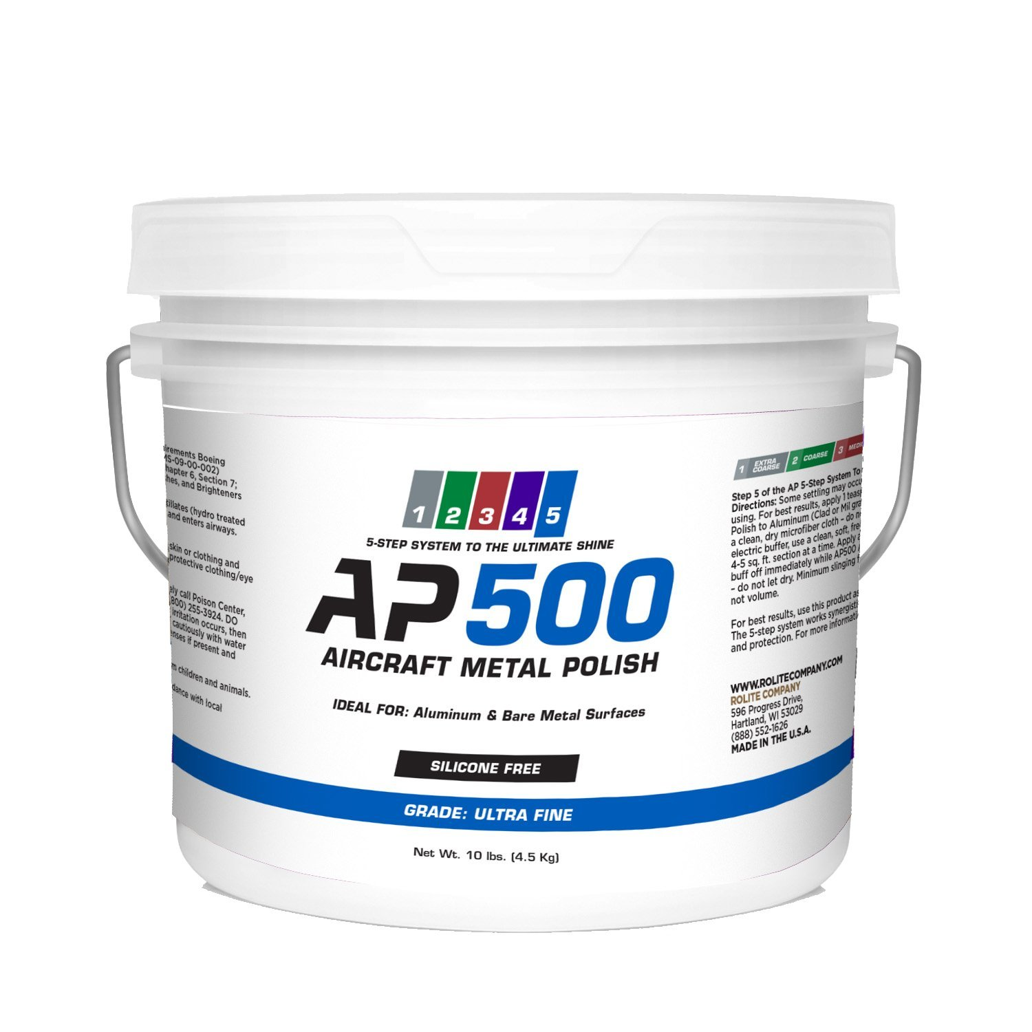 AP500 Aircraft Metal Polish (10lb) - Ultra Fine - for Airplane Aluminum & Bare Metal Surfaces, Brightwork, Leading Edges - Meets Requirements of Boeing and Airbus - Minimal Sling - Low Odor
