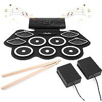 Ohuhu Juego de batería electrónica para niños y adultos. 9 tambores con conector para auriculares, altavoz incorporado…