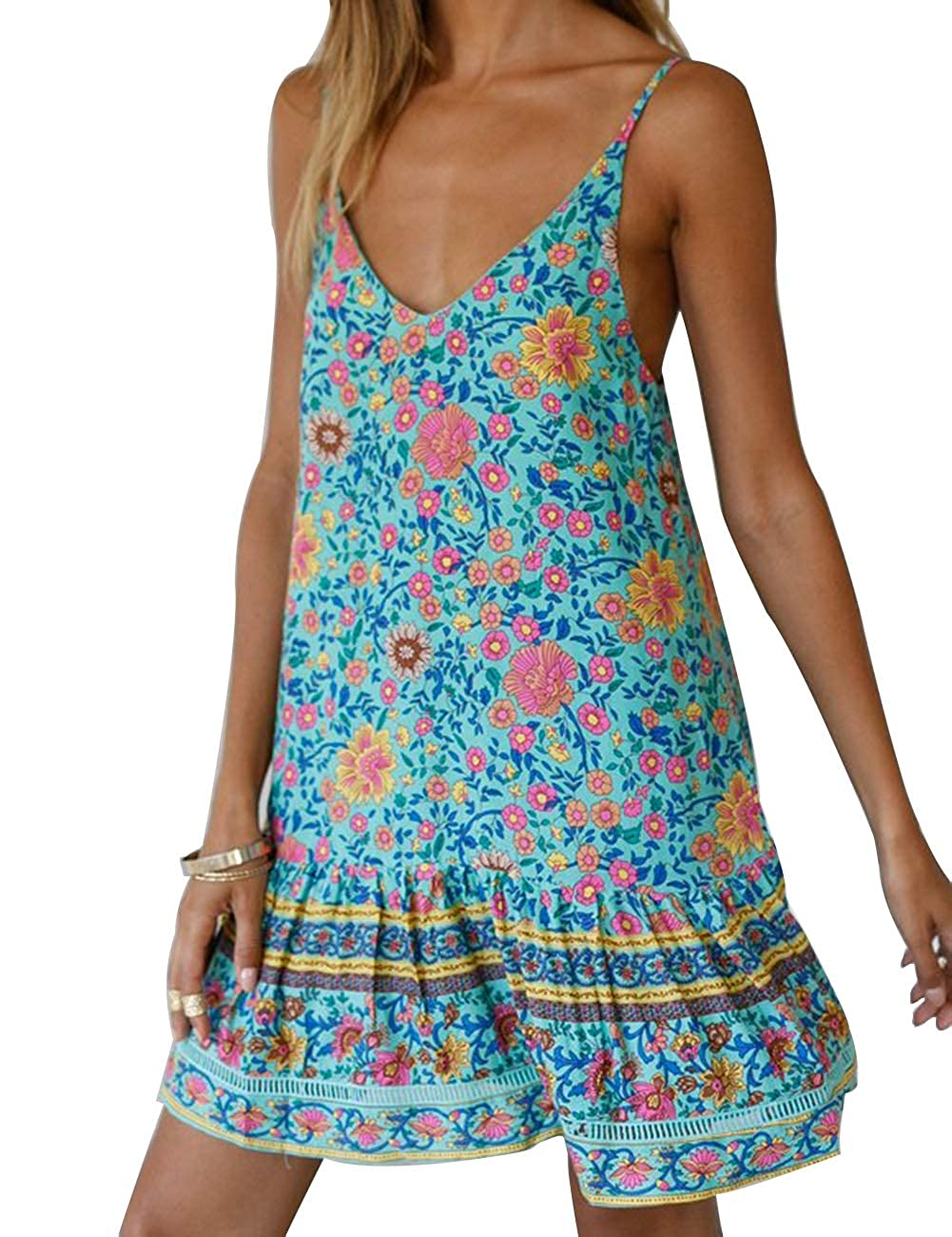 Womens Floral Print Pleated Adjustable Spaghetti Strap Rompers Cute Ruffled Summer Short Jumpsuit Playsuit