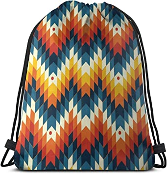 Mohawk Indian Tribe Headress Drawstring Bag Stylish Cute Print Lightweight Sackpack Sport Gym Bundle Backpack Theme Novelty Outdoor Classic