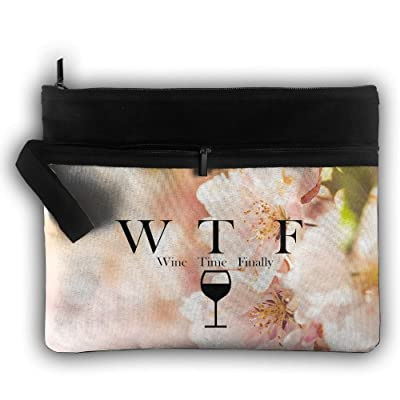 Wine Time Finally Double Layers Zipper Cosmetic Bag Makeup Brush Holder Bag