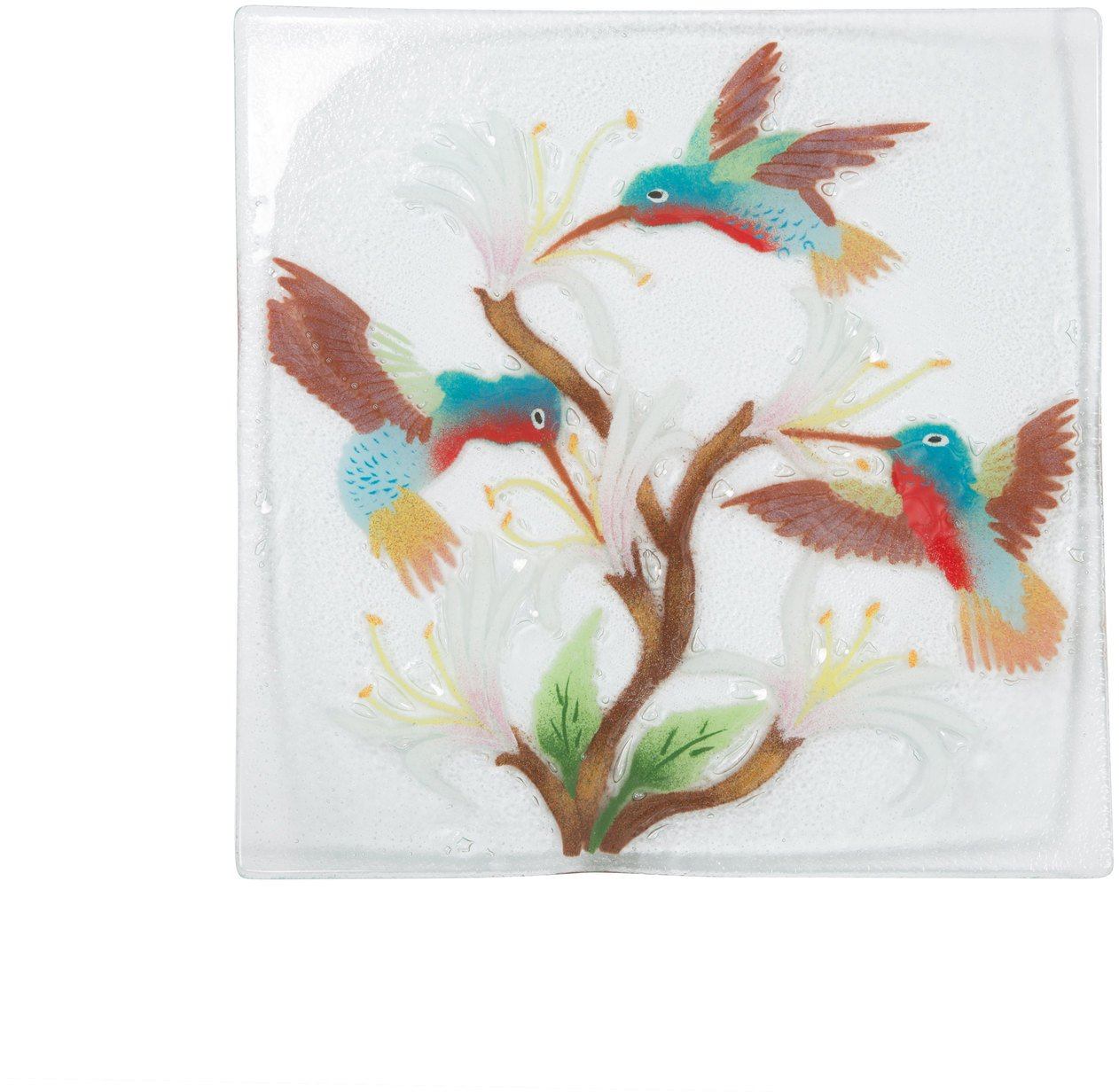 Fusion Art Glass 10-Inch Square Plate with Hummingbird Design
