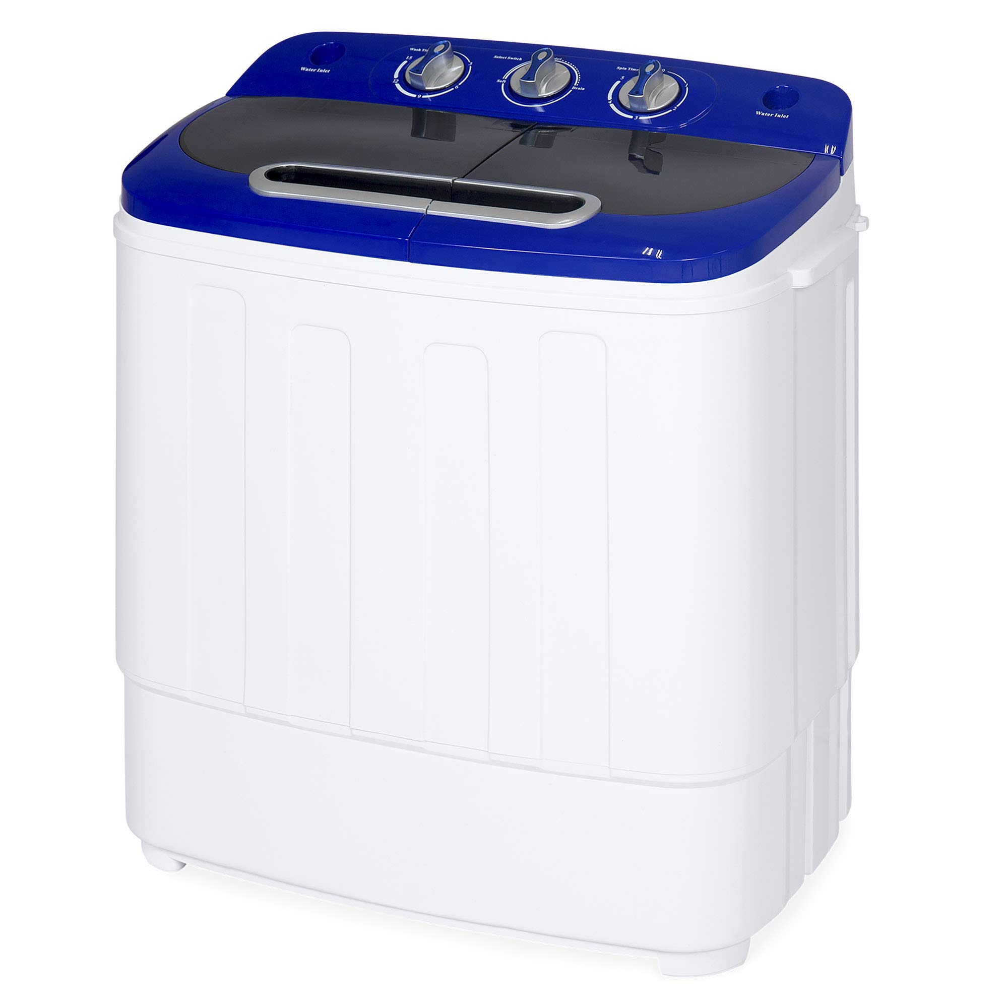 Best Choice Products Portable Compact Twin Tub Laundry Machine & Spin Cycle w/Hose, 13lbs Capacity - White/Blue by Best Choice Products