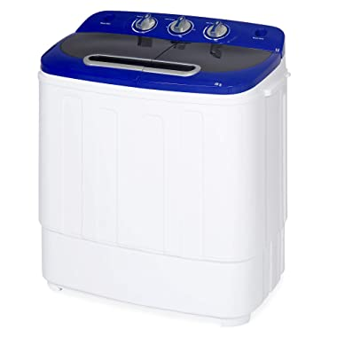 Best Choice Products Portable Compact Lightweight Mini Twin Tub Laundry Washing Machine and Spin Cycle for Camping, Dorms, Apartments w/Hose, 13lbs Load Capacity - White/Blue