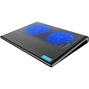TeckNet Base de Refrigeración Para Ordenador Portátil con 2 Ventiladores Silenciosos y Potencias (9-