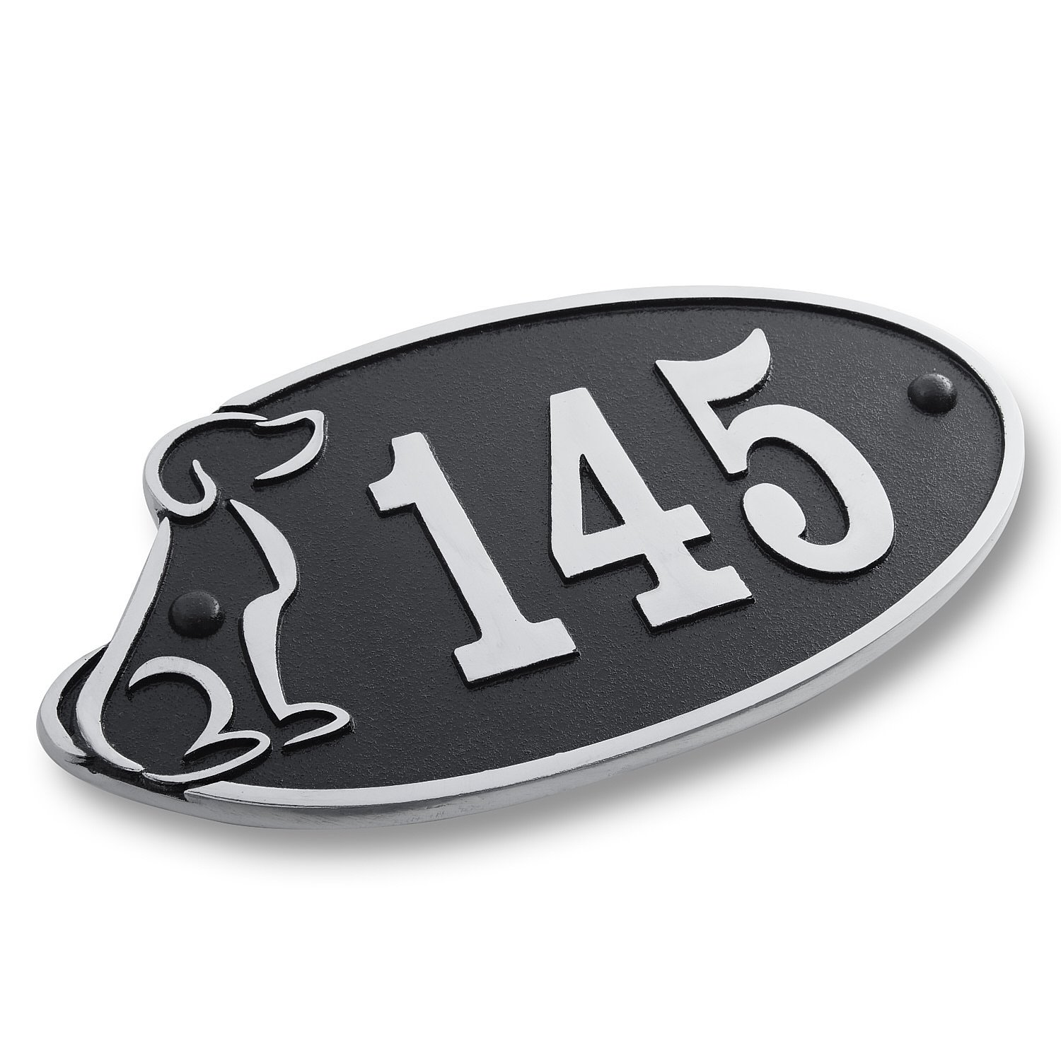 House Number Address Plaque Perfect For Dog Lovers. Cast Metal Personalised Yard Or Mailbox Sign With Oodles Of Color, Number And Letter Options. Handmade In England By The Metal Foundry Just For You