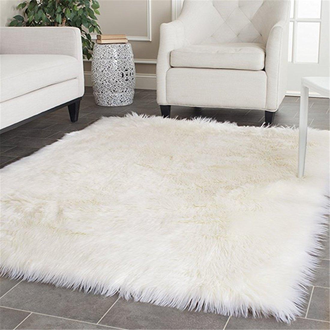 Meng Ge Faux Silky Deluxe Sheepskin Round Area Shag Rug Children Play Carpet for Living Bedroom 4x6ft,White