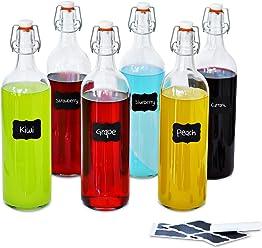Creative Deco 6 x Botellas Cristal 1 Litro | 6 x 1L | Set con Tapa