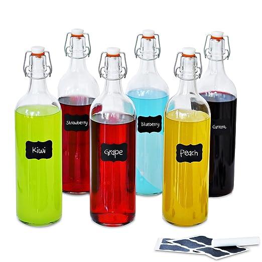 Creative Home Botellas de Cristal 1 Litro | 6 x 1L | Set con Tapa ...