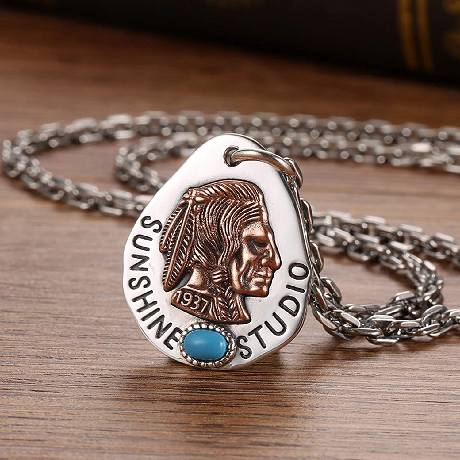 AMDXD Jewelry Sterling Silver Necklace with Pendant Guitar Pick Pendant with Indian Cheef Vintage Necklace for Men