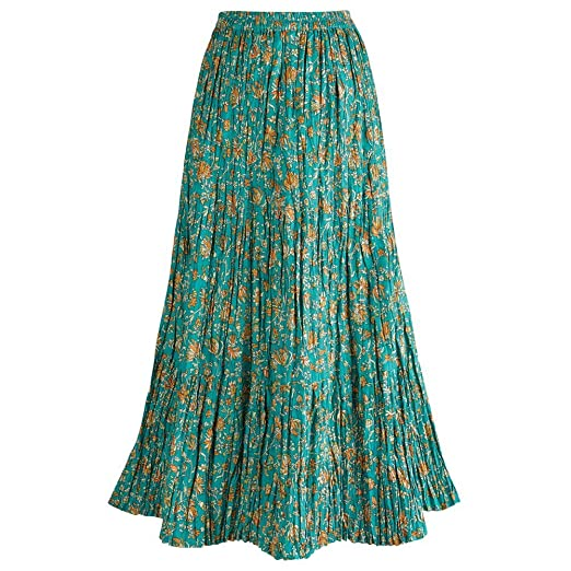 60s Skirts | 70s Hippie Skirts, Jumper Dresses CATALOG CLASSICS Womens Long Peasant Travel Skirt - Reversible Green Crinkle Fabric $49.99 AT vintagedancer.com