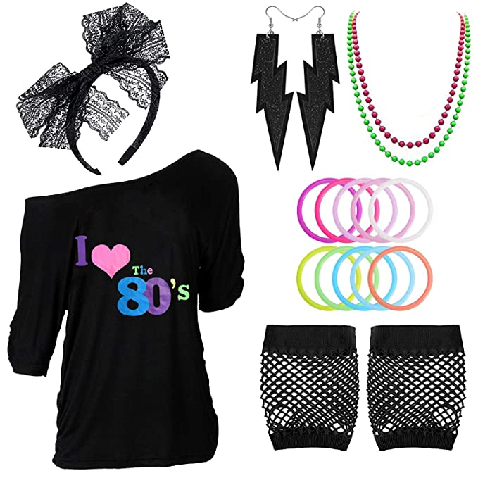 80s Costumes, Outfit Ideas- Girls and Guys 80s Outfits Costume Accessories for WomenI Love 80s Print Off Shoulder T-Shirt for 80s Costumes $17.99 AT vintagedancer.com