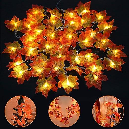 HENMI 20 LED Ahornblatt Lichterketten Herbst Ahornblatt Girlande f/ür Outdoor Home Weihnachtsfeiern Dekoration Thanksgiving Decorations Ahornblatt Lichterketten