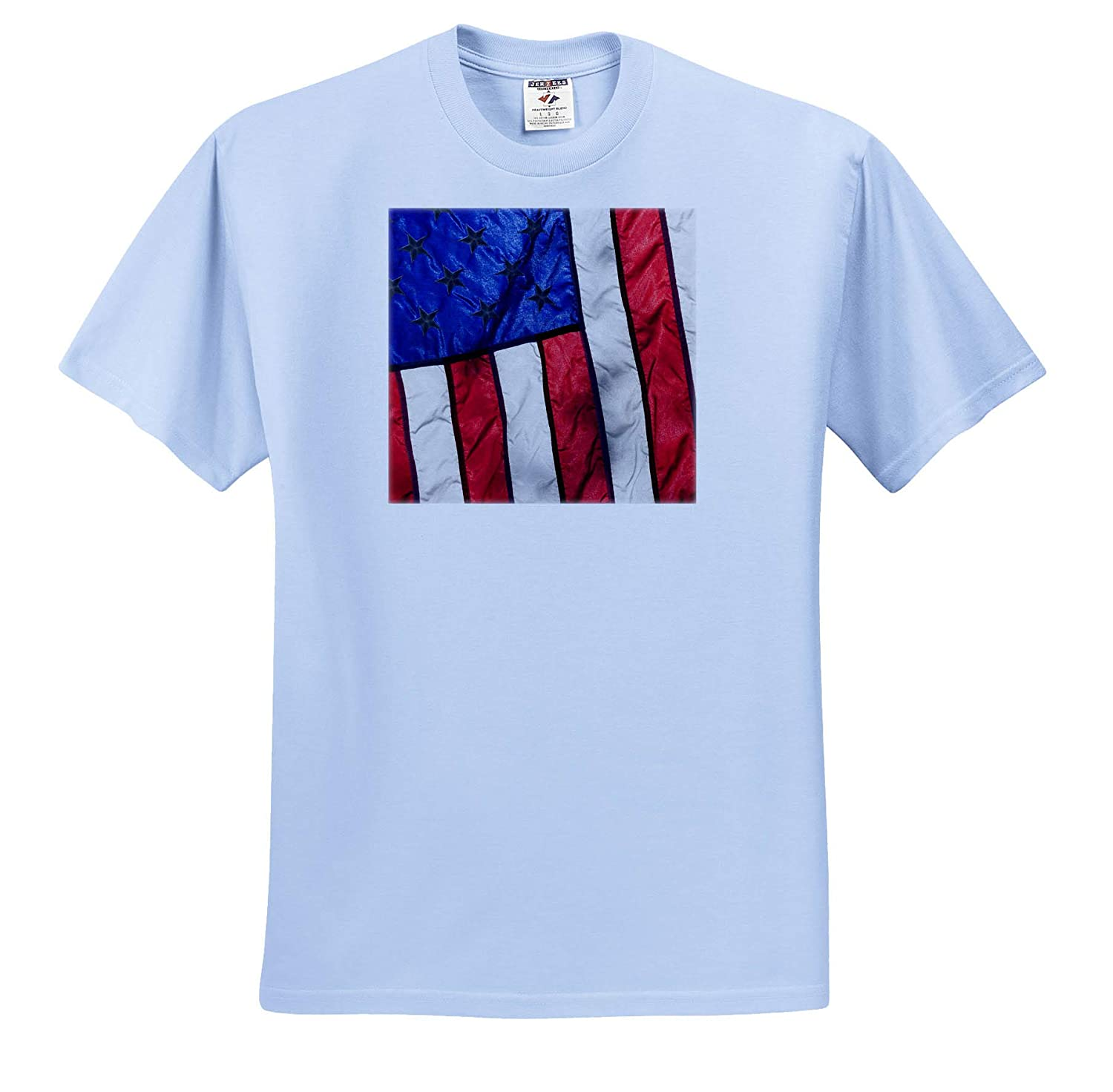 ts/_313708 - Adult T-Shirt XL America 3dRose Danita Delimont Sunlight Shines Through an American Flag