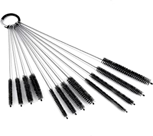 Drinking Straw Cleaning Brush Set, Nylon Pipe Tube Cleaner, Stainless Steel Handle, 12 10 8 Inches Extra Long, 12 10 8 6 mm Extra Wide Diameter, Set of 12 Multiple Size Straws (Black)