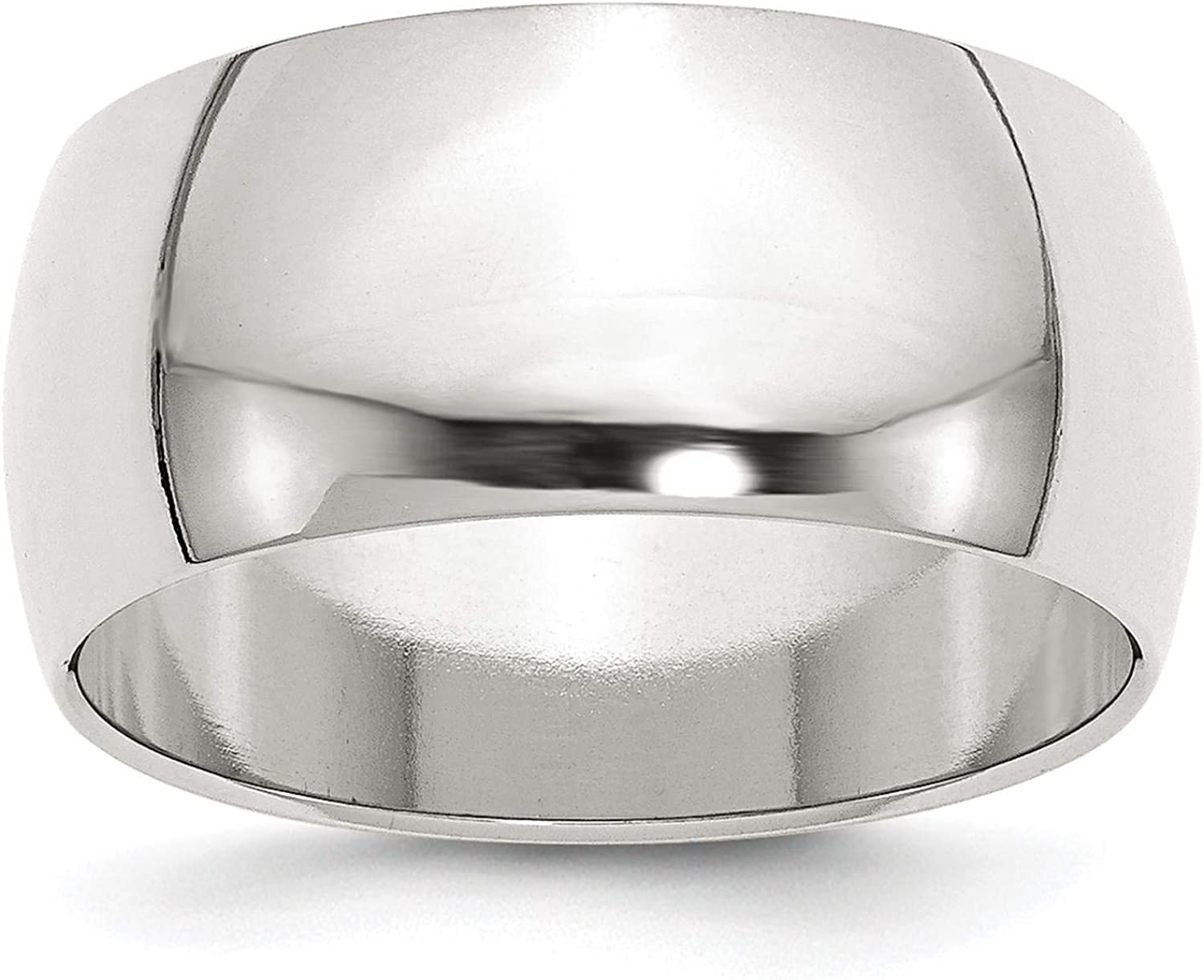 925 Sterling Silver Polished 10mm Half Round Wedding Ring Band Size 4-13.5