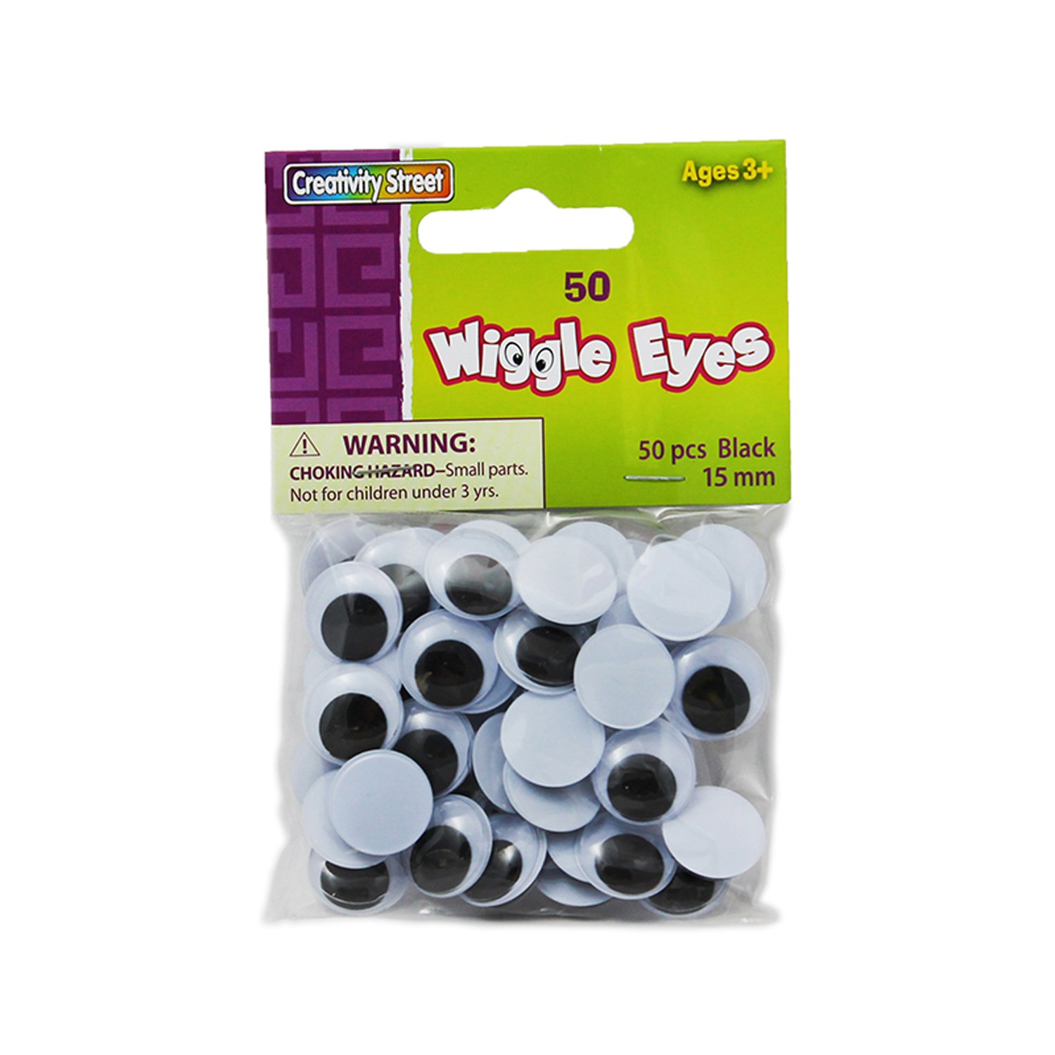 Creativity Street Wiggle Eyes, Black, 15 mm, 50 Per Pack, 12 Packs by Chenille Kraft