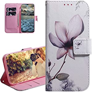 Wallet Phone Case for Nokia 2.4,SZYZ Colored Painting Shockproof Leather Flip Kickstand Case with Magnetic Closure and Credit Card Slots Cover for Nokia 2.4,Magnolia