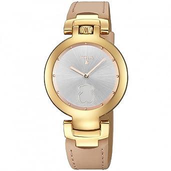 Reloj Tous Crown de acero IP rosado con correa de piel nude 700350265: Amazon.es: Relojes