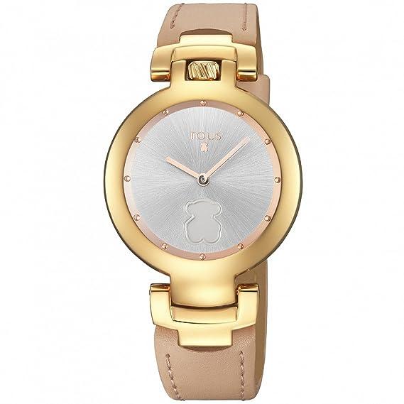 Reloj Tous Crown de acero IP rosado con correa de piel nude 700350265
