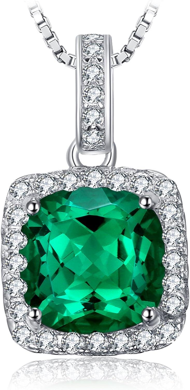 JewelryPalace Colgante con esmeralda cuadrado Collar Plata de ley 925 cadena de caja 45cm