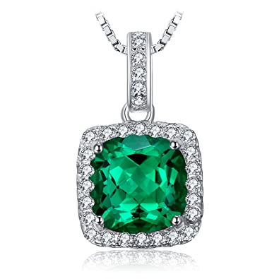 JewelryPalace Cushion 3.3ct Simulated Nano Russian Emerald Halo Pendant Necklace Solid 925 Sterling Silver 18 Inches LgcLfWukZq