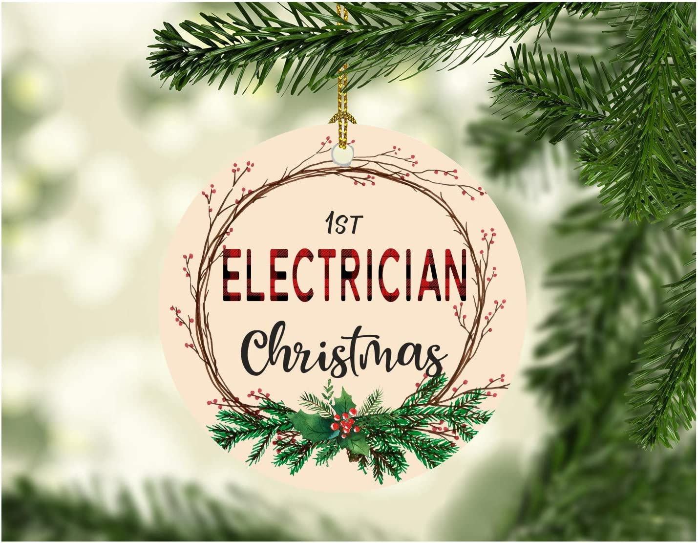 """Christmas Tree Ornament 2020 First Christmas Electrician Decorations Tree Congrats On New Job Good Luck Present Ideas Family Decor for A Holiday Party Funny Xmas MDF Plastic 3"""" White"""