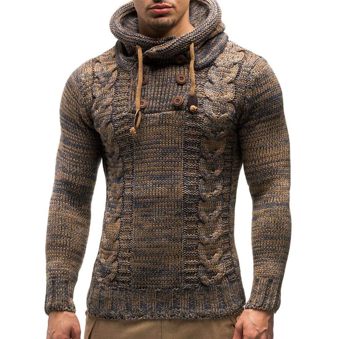 UJUNAORTOP Men's Autumn Winter Pullover Knitted Cardigan Coat Hooded Sweater Jacket Outwear