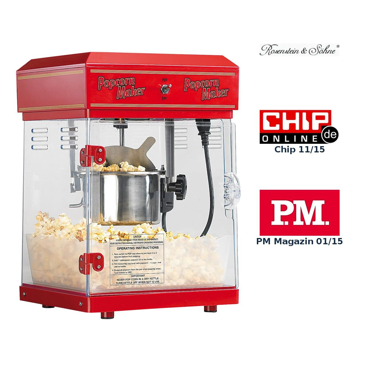 Werbung: Popcorn Maker - Retro Popcorn Maschine / Bild: Amazon.de