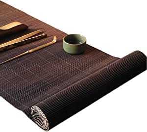 YOY Tea Ceremony - Kung Fu Tea Set Mat Natural Bamboo Tablemat Slat Handmade Bamboo Sticks Decor Placemat Tea Table Runner 12 by 59-Inch,Coffee