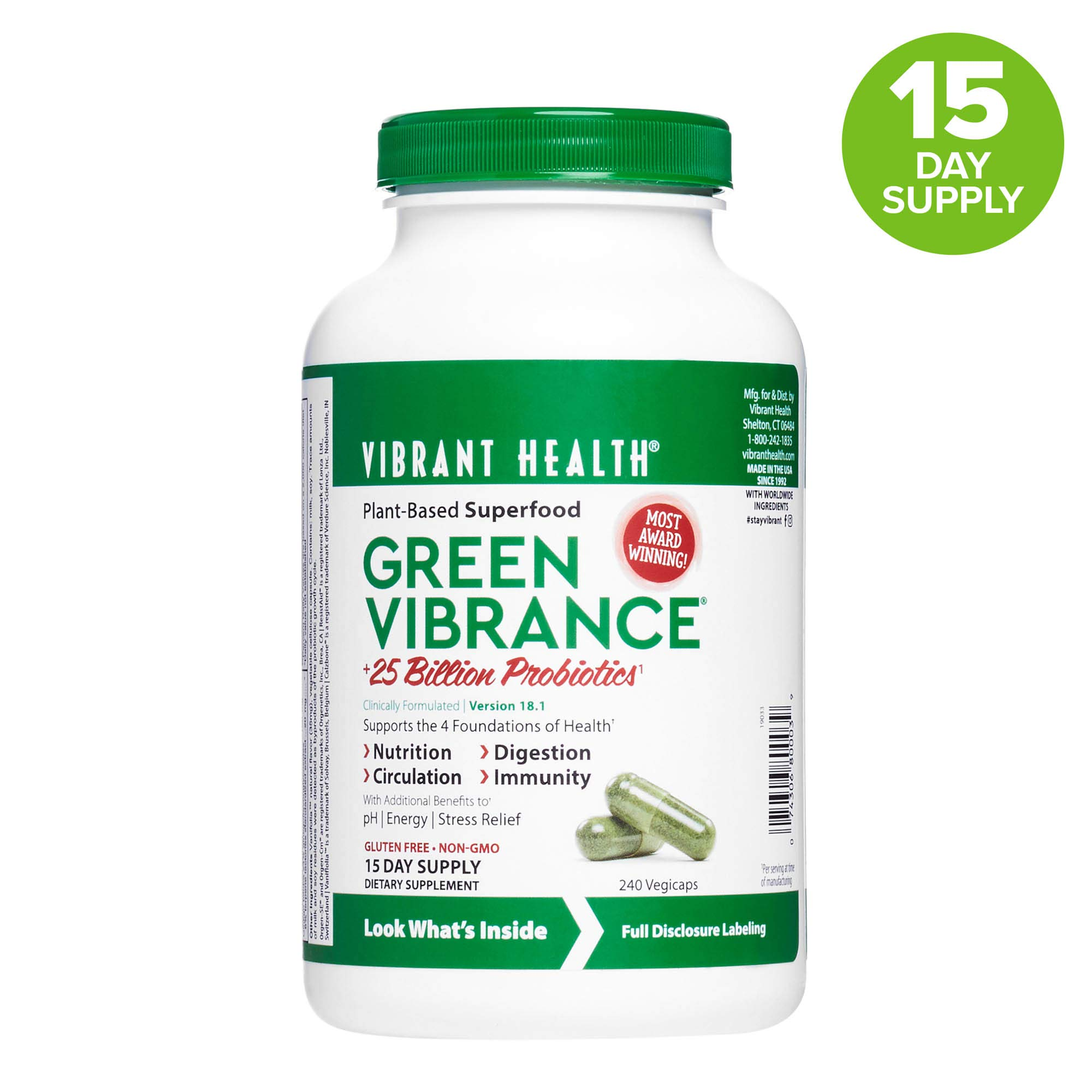 Vibrant Health, Green Vibrance, Vegetarian Superfood Capsules with Over 70 Ingredients, 25 Billion Probiotics, 240 capsules (15 servings) (FFP) by Vibrant Health