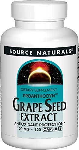 Source Naturals Grape Seed Extract, Proanthodyn 100 mg Antioxidant Protection Supports Healthy Aging Brain – 120 Capsules