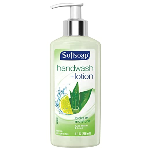Softsoap Hand Wash Plus Lotion Pump, Aloe Water and Lime - 8 fluid ounce (6 Pack)