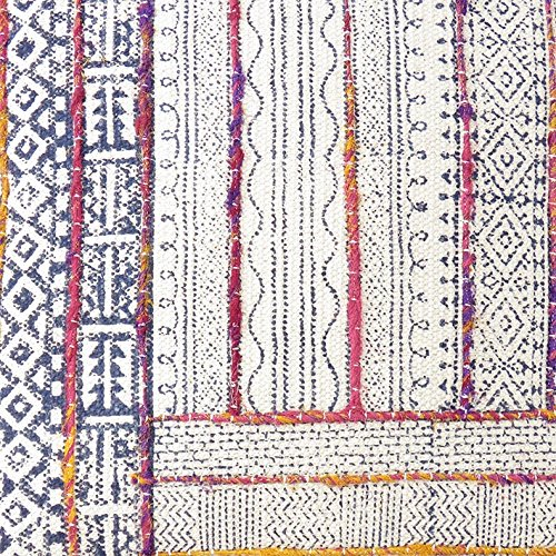 Eyes of India - 20'' Colorful Decorative Block Print Embroidered Pillow Cushion Cover Floor Couch Sofa Dhurrie Throw Boho Bohemian IndianCover Only