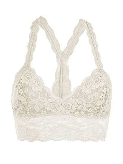 2ba7fb76241 Image Unavailable. Image not available for. Color  Floral Lace Racerback  Unpadded Bralette Top Sheer Bustier Crop Wireless Lingerie Bra ...