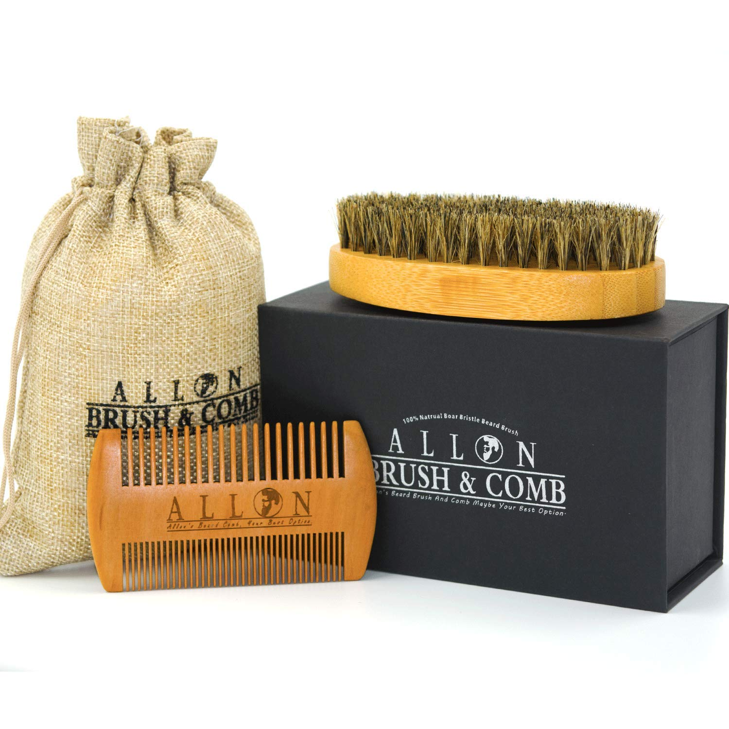 Allon Beard Brush and Comb for Man | Allon Boar Bristles Beard Brush | Handmade Wooden Comb Kit for Hair Styling and Beard Grooming with Perfect Gift Box BB001