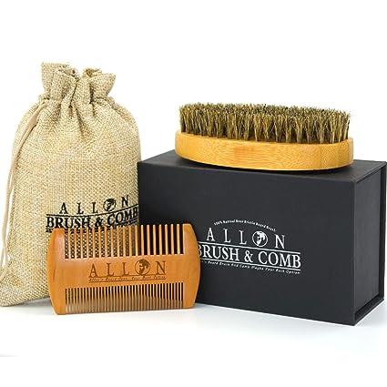 Cepillo de barba y peine para hombre, cerdas de jabalí de Allon, cepillo de