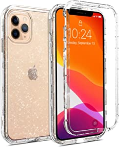 Coolwee Crystal Glitter Full Protective Case for iPhone 11 Pro Heavy Duty Hybrid 3 in 1 Rugged Shockproof Women Girls Transparent for Apple iPhone 11 Pro 5.8 inch Shiny Clear Sparkle